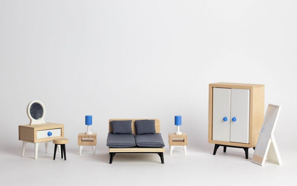 Komplette h lzerne schlafzimmer innenausstattung in miniatur bett mit zwei nachttischen - Schlafzimmer mit schminktisch ...