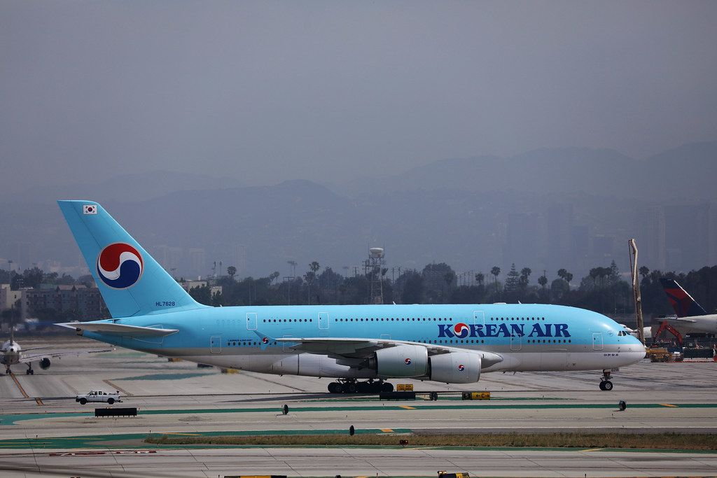 Korean Air Lines Airbus A380 taxiing in Los Angeles Airport LAX