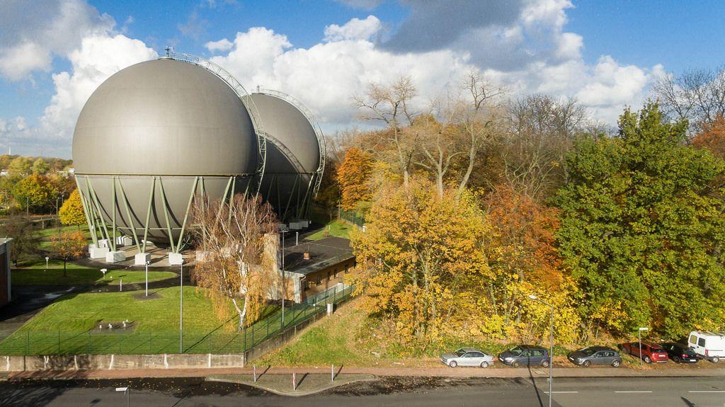 Kugelgasbehälter in Buchheim, Köln - Drohnenfoto