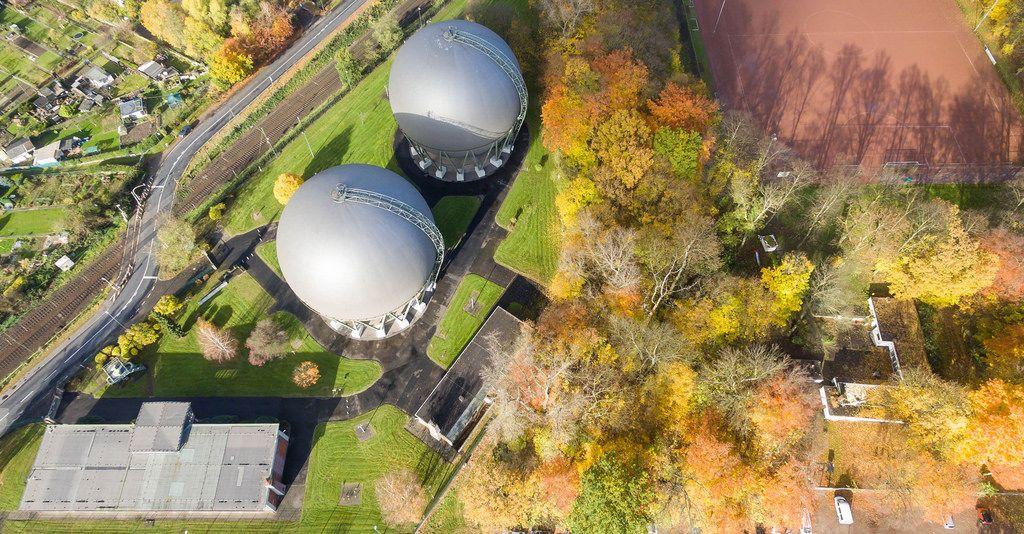 Kugelgasbehälter in Buchheim, Köln - Luftbildaufnahme
