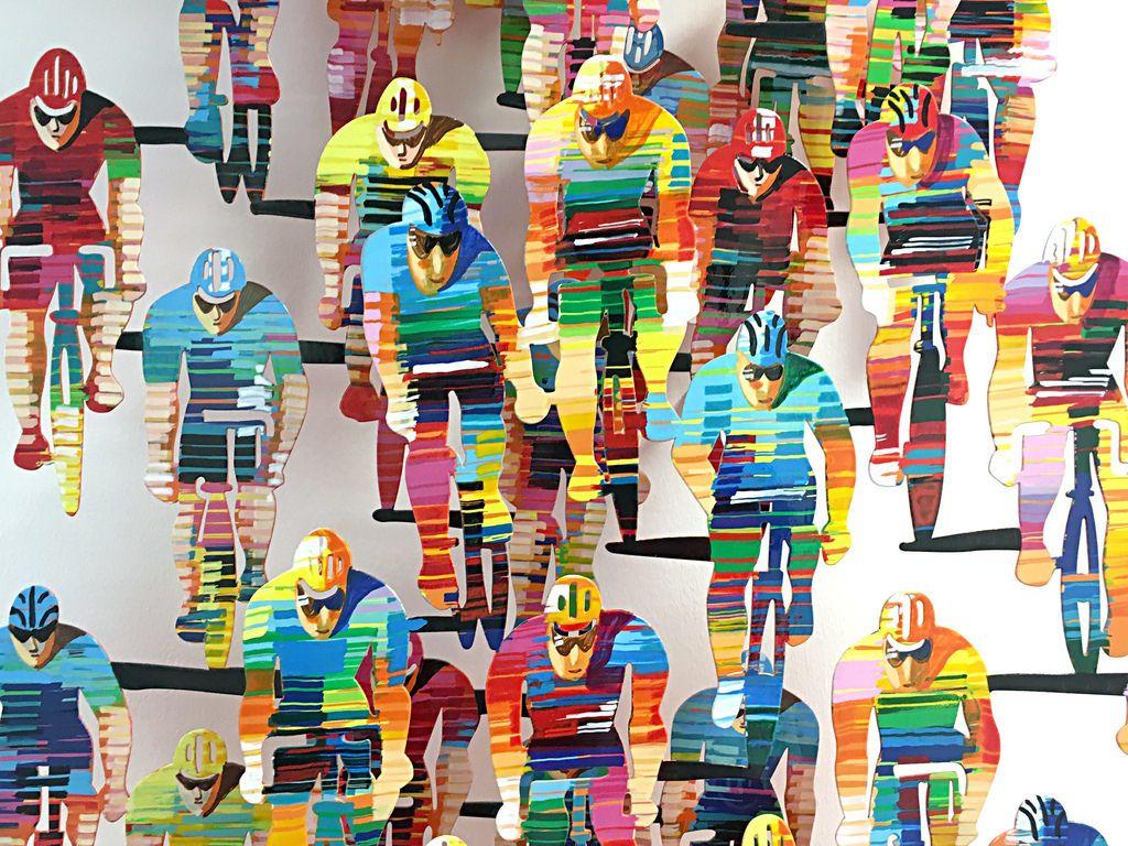 Kunstwerk mit Radfahrern