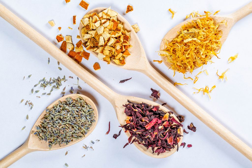 Lavender flowers, hibiscus, dried orange peel and petals - for making tea