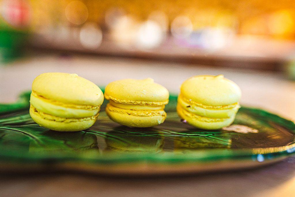 Lemon Macaroons On Ceramic Plate