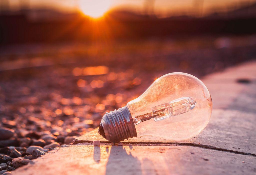 Light bulb on the ground