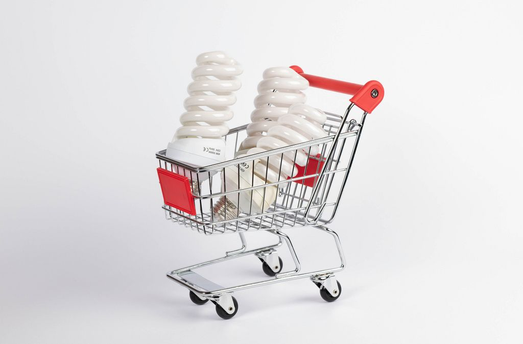 Light bulbs in shopping cart