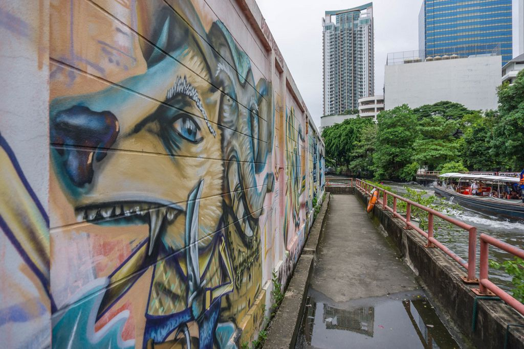 Lion Graffiti on a Wall at the Canal in Bangkok, Thailand