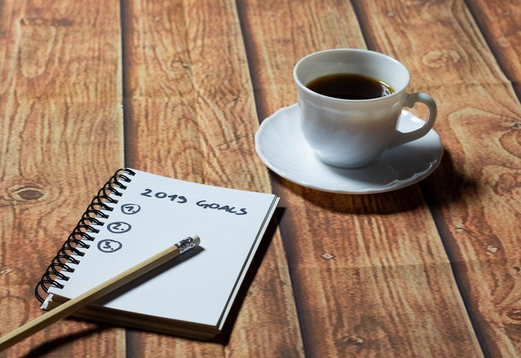 List of goals and a cup of coffee