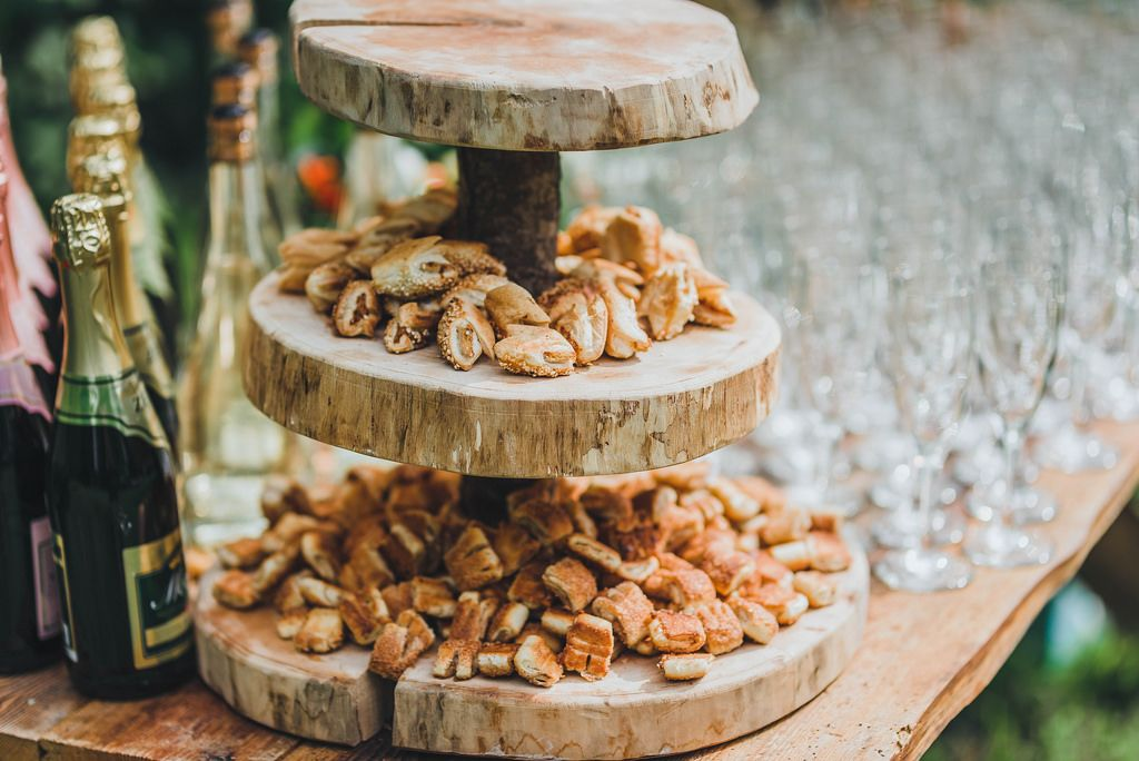 Little Bread Pies On Wooden Plate