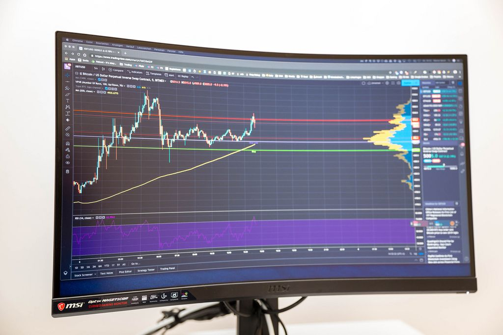 Live Bitcoin to US dollar chart shown at MSI Optix MAG271CQR curved gaming monitor
