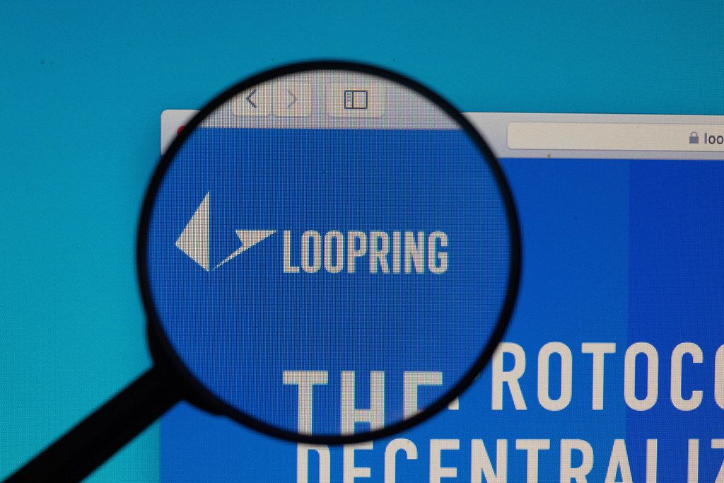 Loopring logo under magnifying glass
