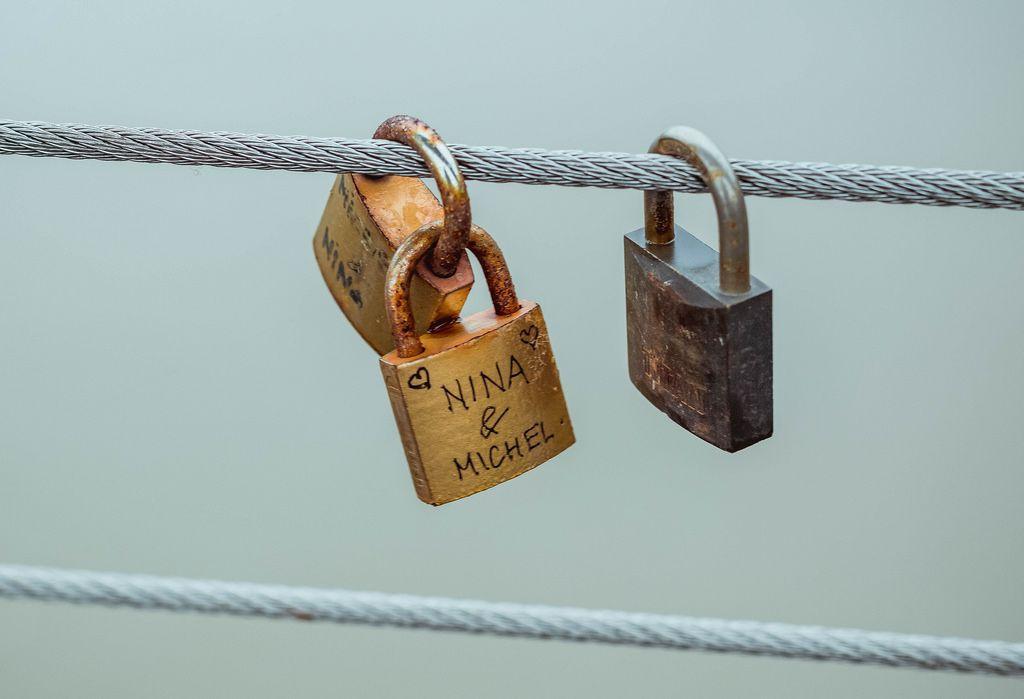 Love locks on a bridge