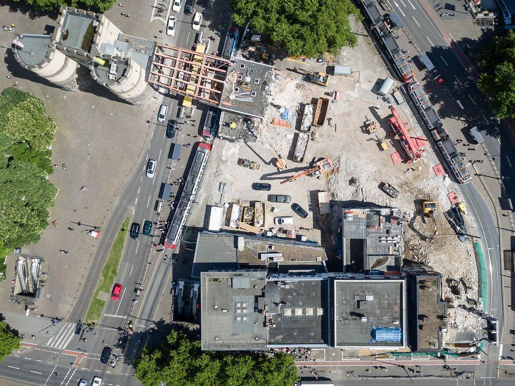 Luftbild: Baustelle Rudolfplatz Köln im August 2017
