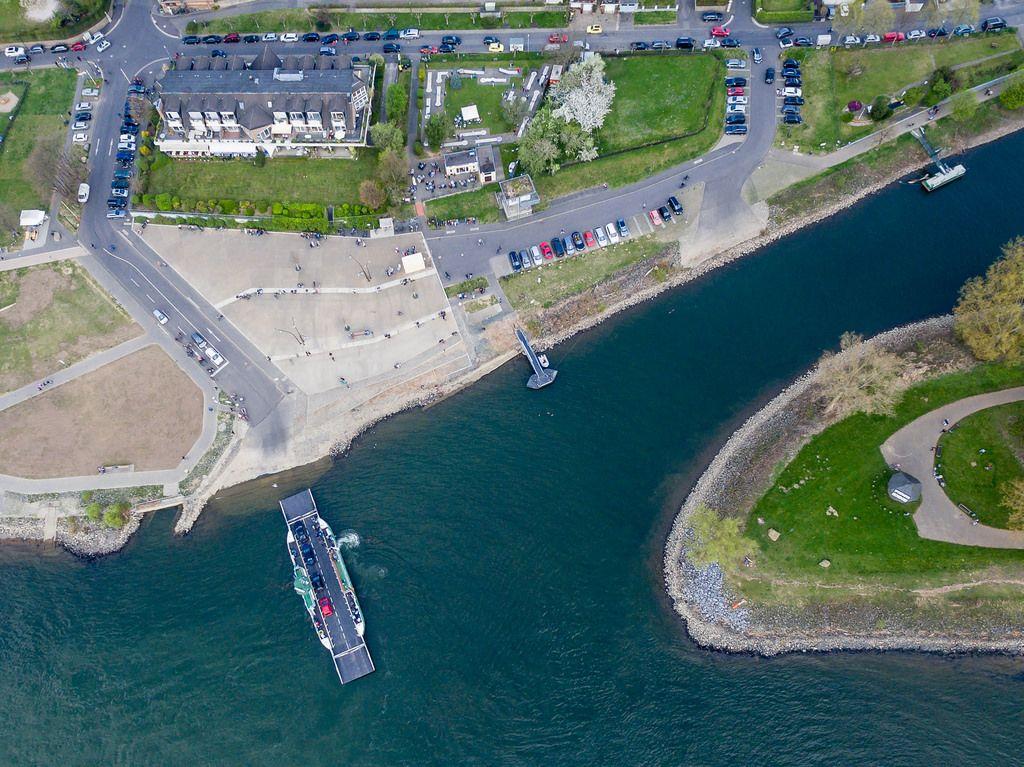 Luftbild: Fähranlegestelle Mondorf