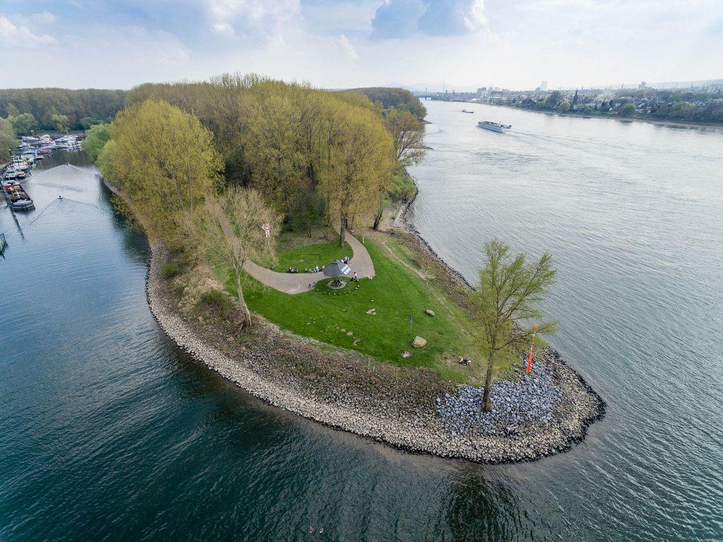 Luftbild: Landzunge an Mondorfer Hafen
