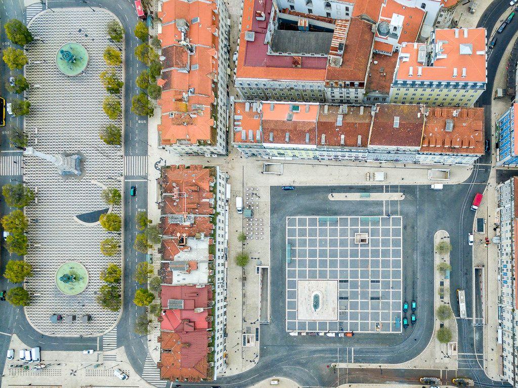 Luftbild: Praça da Figueira und Praça D. Pedro IV