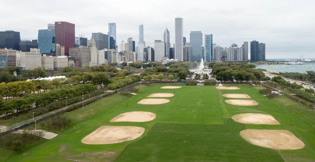 Luftbildaufnahme des Lower Hutchinson Field im Grant Park