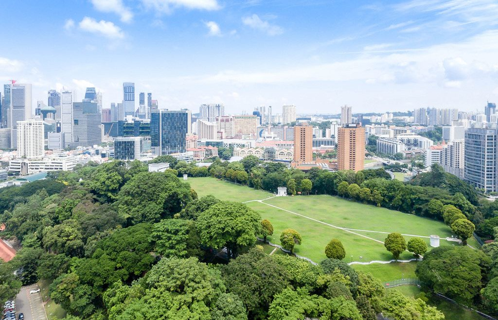 Luftbildaufnahme: Fort Canning Park in Singapur