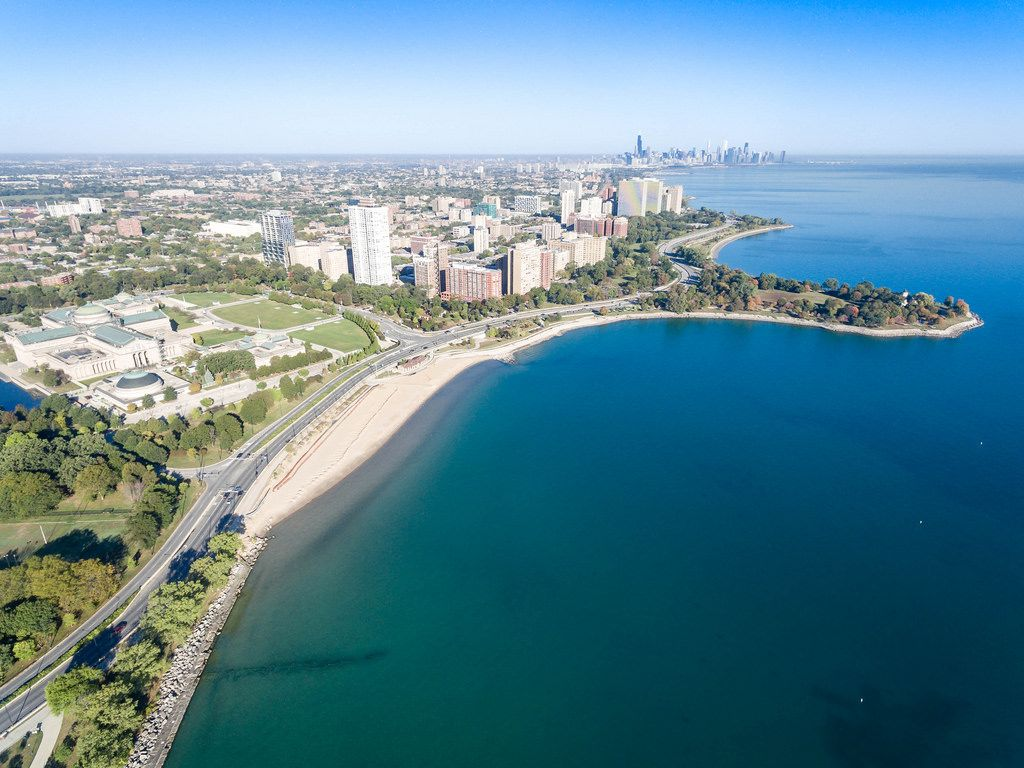 Luftbildaufnahme: Museum of Science and Industry, 57th Street Beach, East Hyde Park und Promontory Point