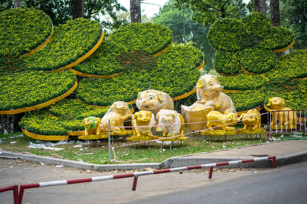 Lunar New Year Decorations in Ho Chi Minh City, Vietnam