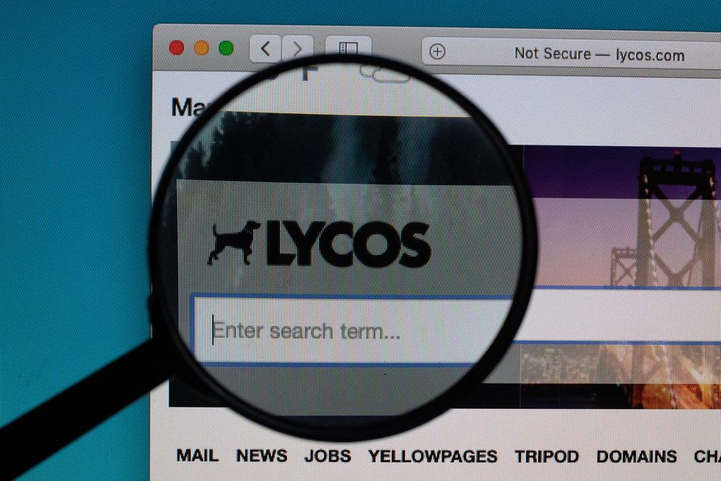 Lycos logo under magnifying glass