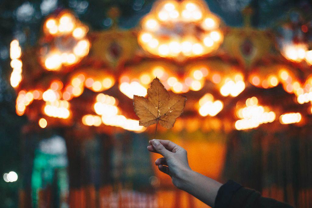 Mädchen hält ein Blatt vor buntem, verschwommenem Hintergrund. Herbstidee