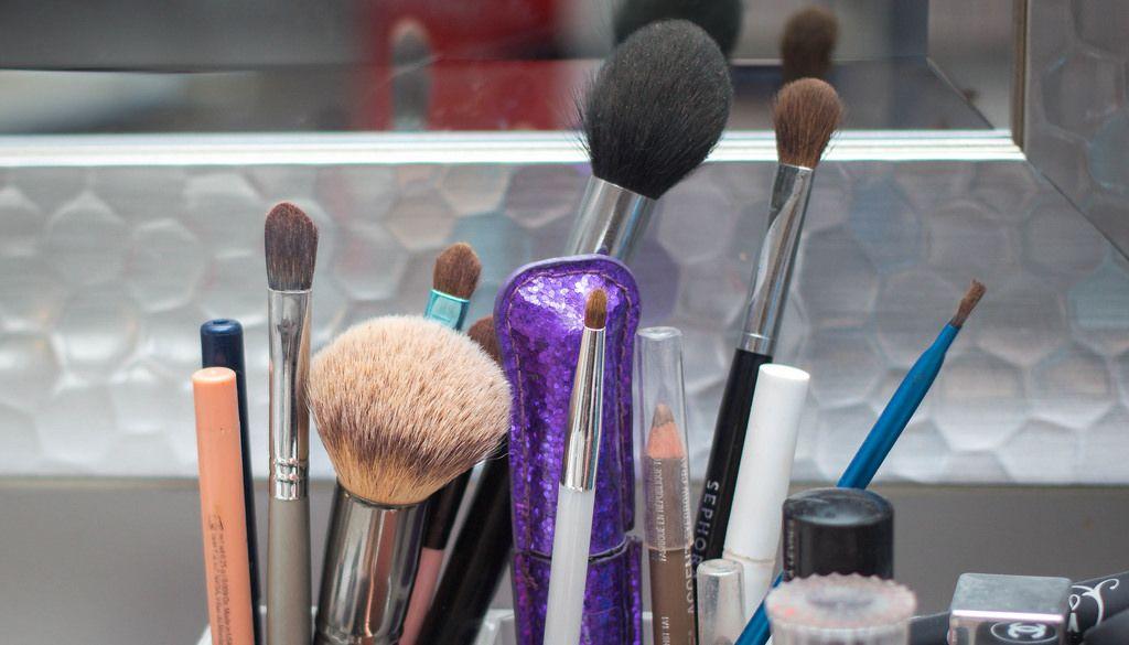 Make-Up Brush with Mascara close-up