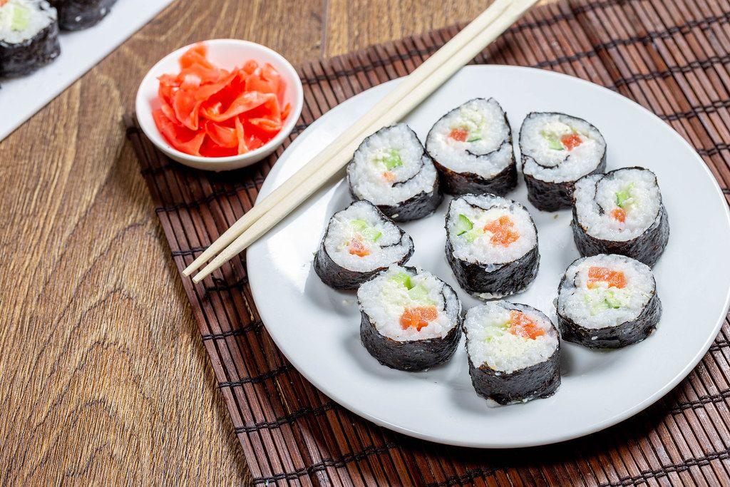 Maki-rolls with salmon ready to eat (Flip 2019)