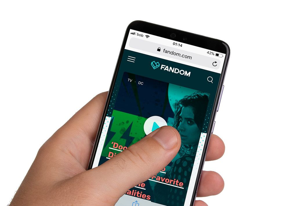 Male hands holding smartphone with an open Fandom website