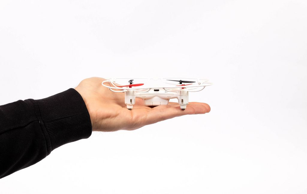 Man hand holding a drone