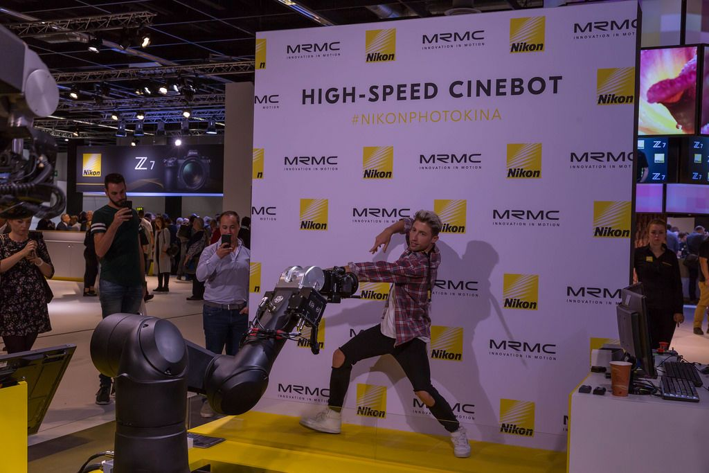 Man moving in front of the movie camera Bolt High Speed Cinebot