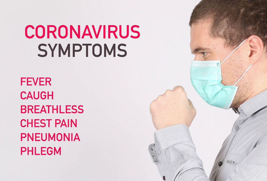 Man suffer from cough with face mask protection and Coronavirus Symptoms list