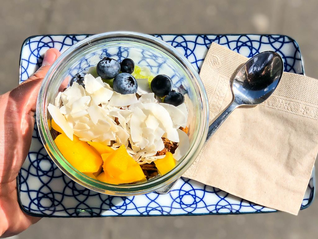 Mango, blueberries, coconut flakes and granola