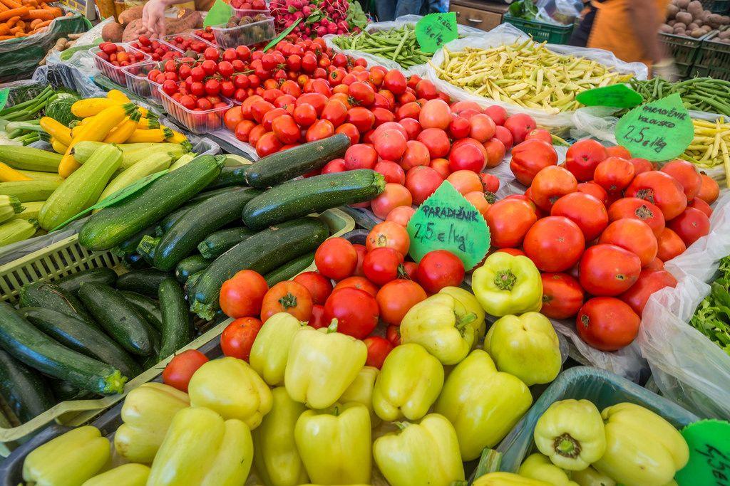 Marketplace Ljubljana, Slovenia - zucchini, paprika, tomato