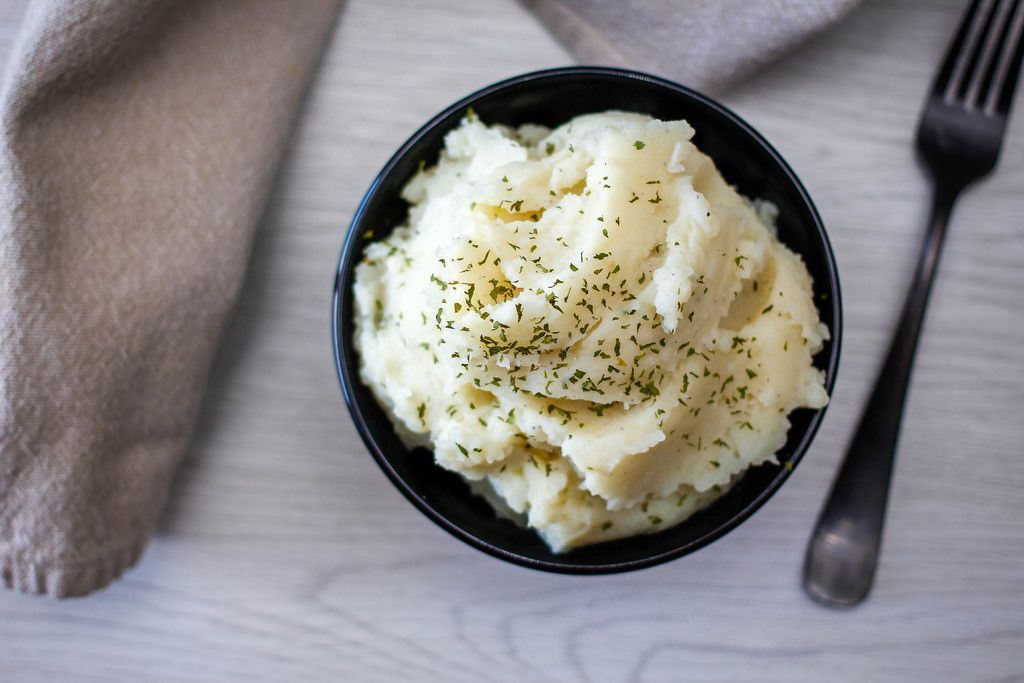 Mashed Potatoes in a Bowl Top View