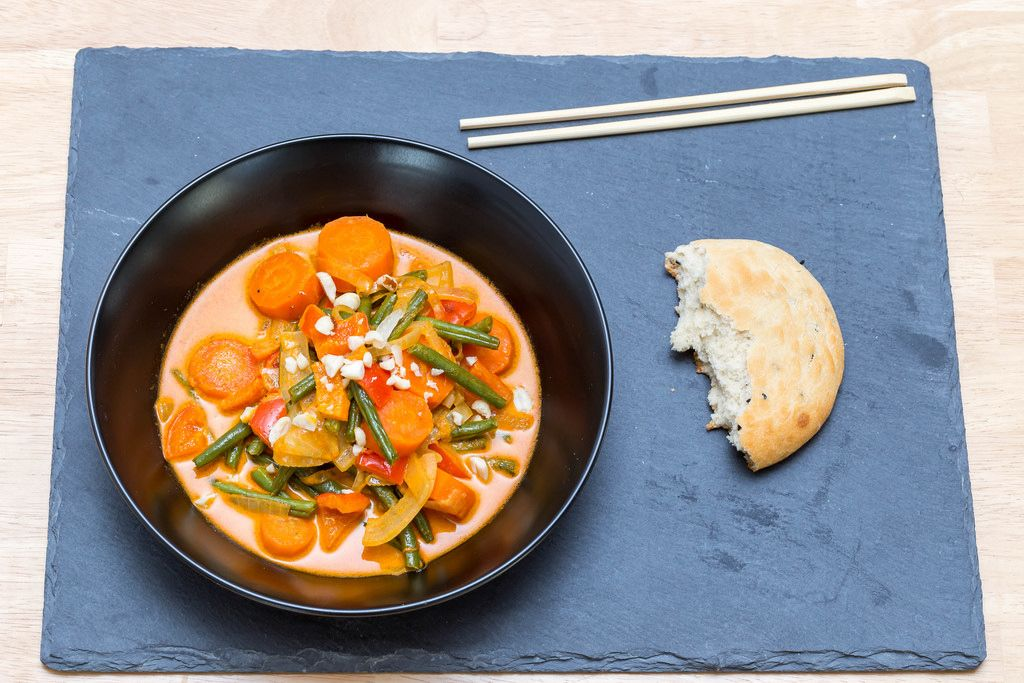 Massaman Curry with oven-roasted vegetables and naan bread