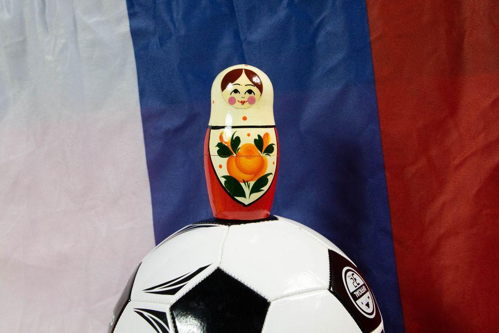 Matryoshka doll on soccer ball