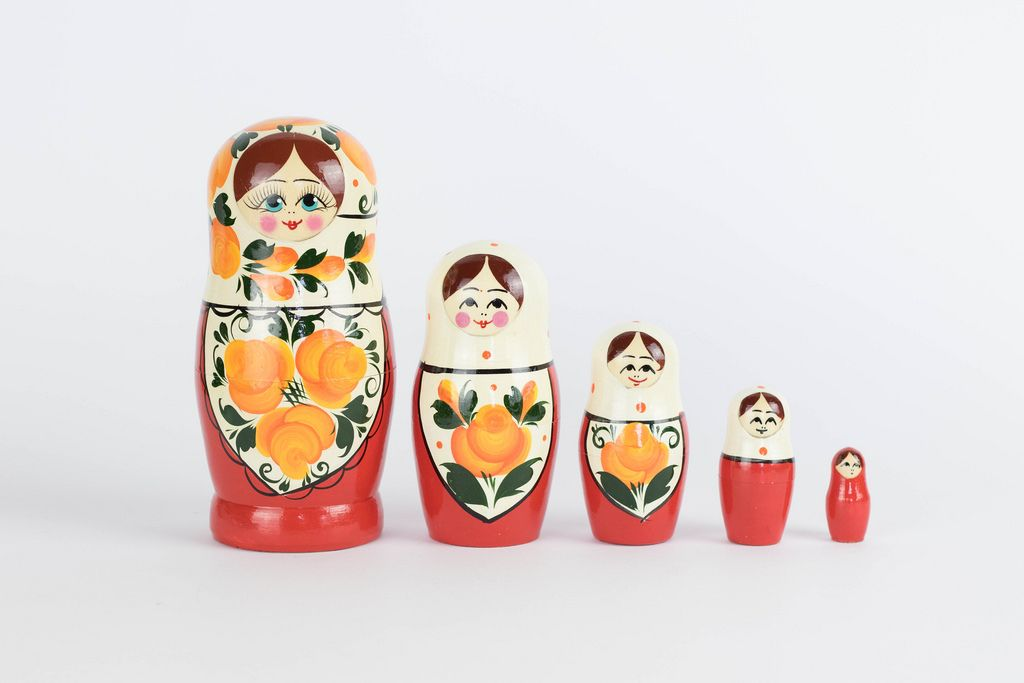 Matryoshka set in a row