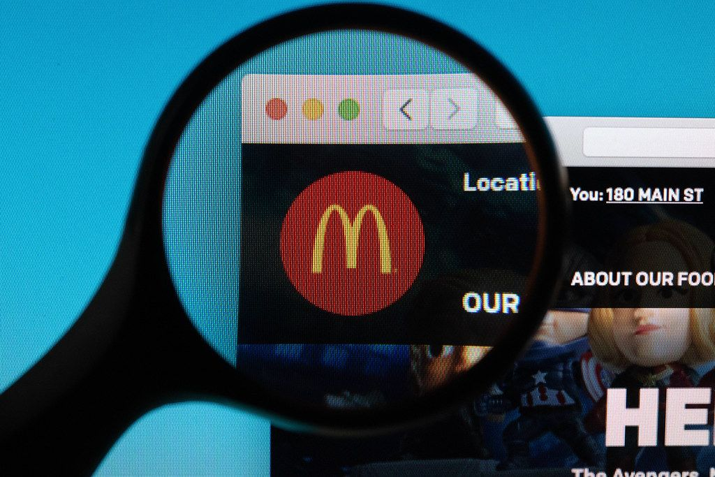 McDonald's logo under magnifying glass