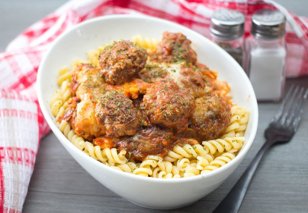 Meatballs with Tomato Sauce and Cheese on Pasta