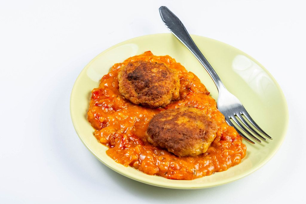 Meatballs with Tomato Stew served on the plate