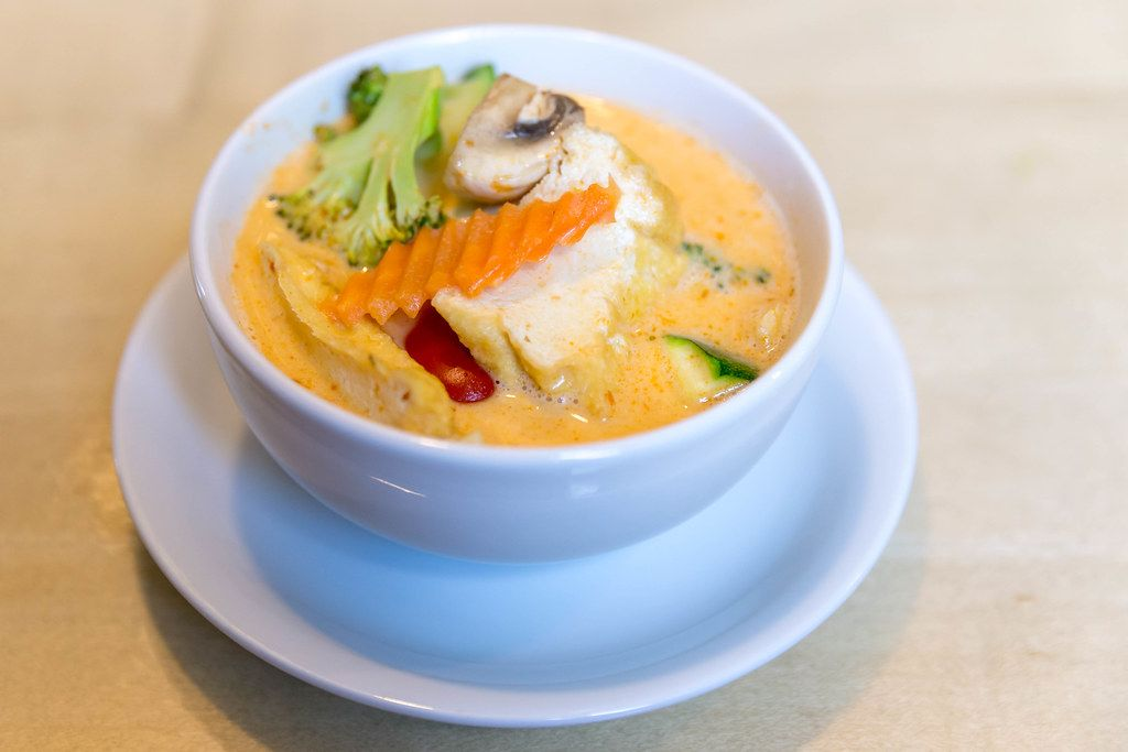 Meatless and hot spicy coconut milk soup
