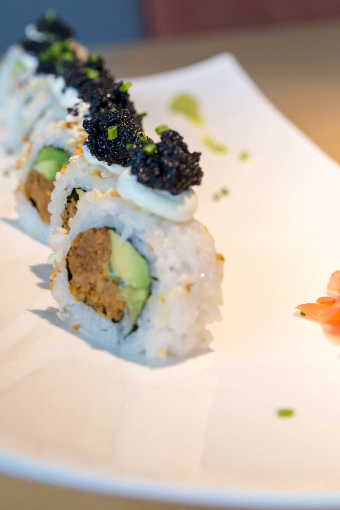 Meatless lunch for vegans, with Sushi