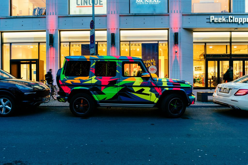 Mercedes G-Class with cool paint parked in center of Berlin
