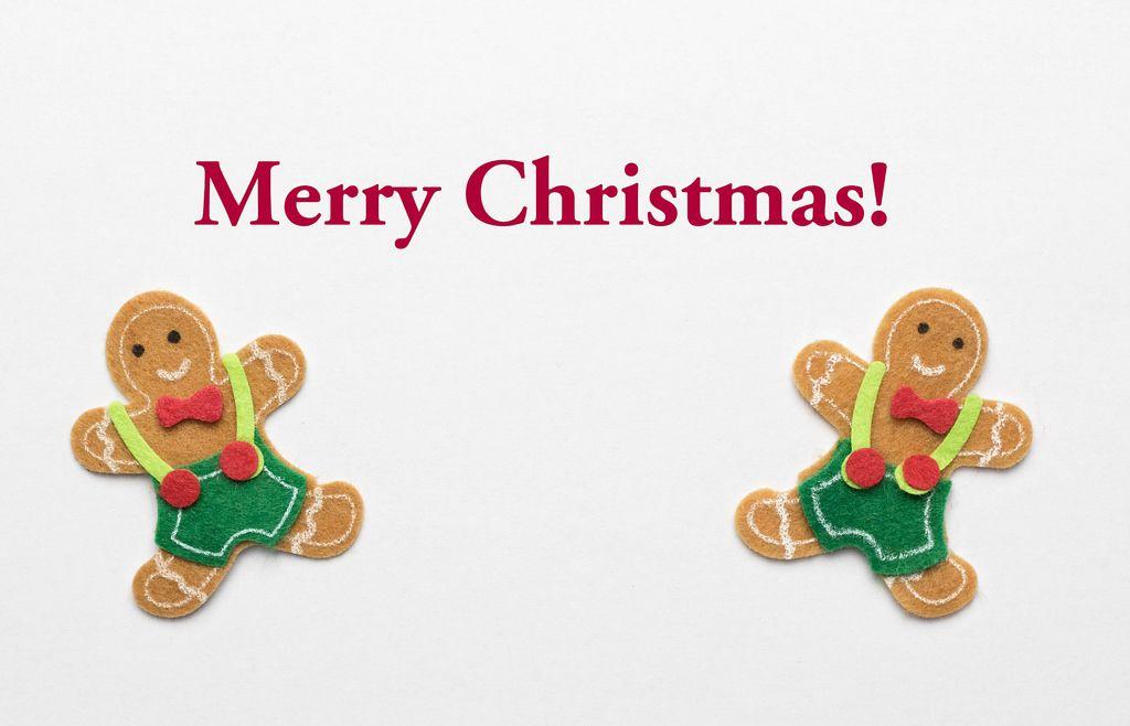 Merry Christmas Grußkarte mit Lebkuchemännern