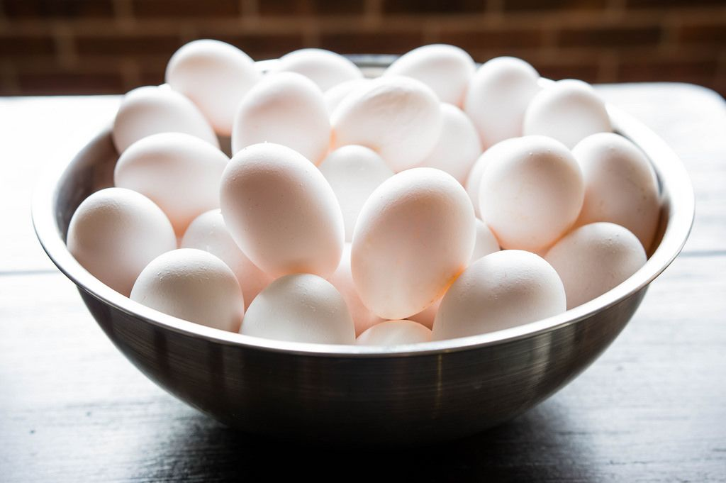 Metal bowl filled with eggs