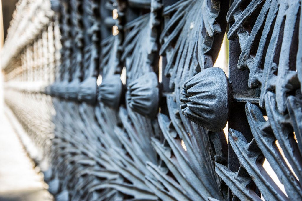 Metal fence by Gaudi in Guell park, Barcelona