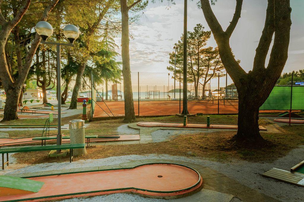 Mini golf course in a camp