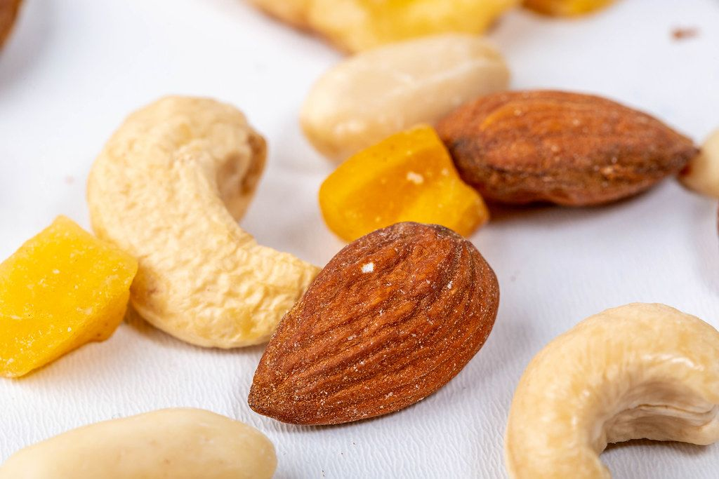 Mix of nuts on white background