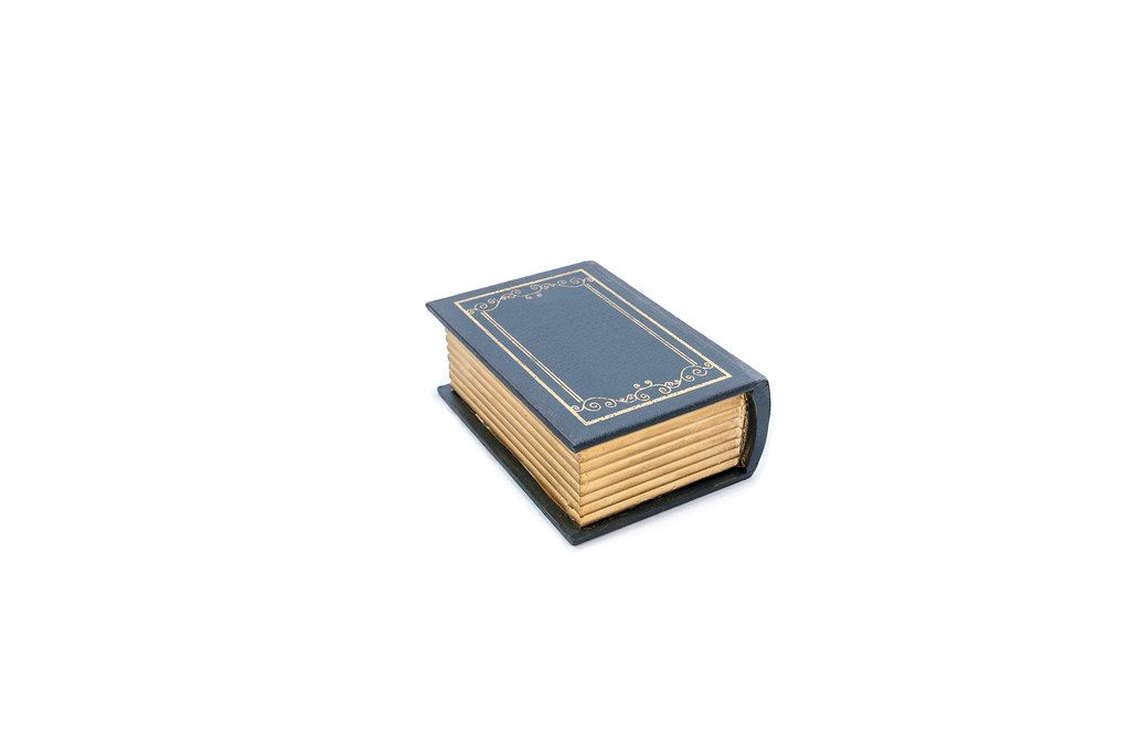 Mock-up of old book isolated on white background (Flip 2019)