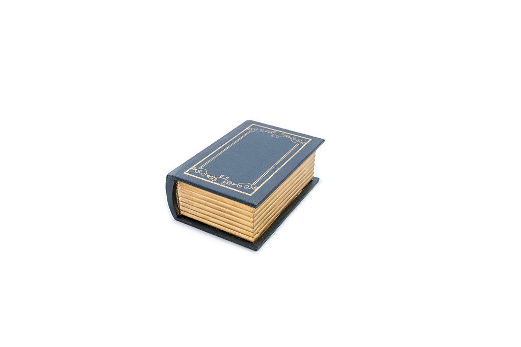 Mock-up of old book isolated on white background